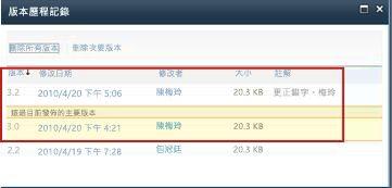 已去除版本 3.1 的版本歷程記錄