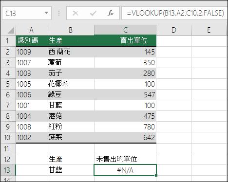 VLOOKUP 中的 #NA 錯誤:查閱值不在表格陣列的第一欄中