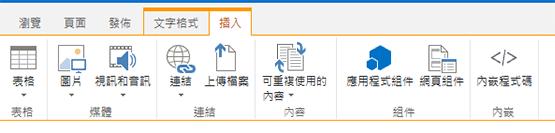 [插入] 索引標籤的螢幕擷取畫面,其中包含在網頁插入表格、視訊、圖形以及連結用的按鈕
