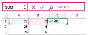 資料編輯列顯示公式