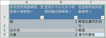 若要列印問卷問題及回應,請選取包含回應的儲存格。