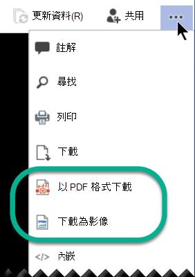 在檢視模式中,省略號功能表視窗頂端有「下載」選項。