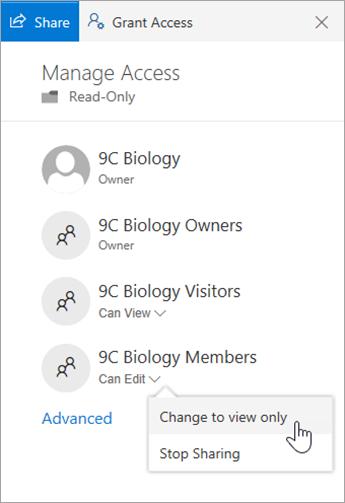 在 [詳細資料] 窗格中,選取 [變更為僅供檢視]。