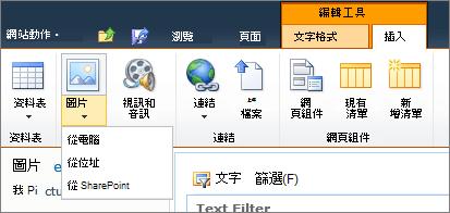 按一下 [圖片] 按鈕,在功能區],然後選取 [從電腦、 地址或 SharePoint。