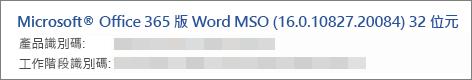 顯示 Word 版本、 建置和位元版本