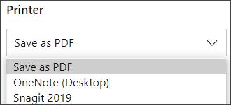 用於列印的另存為 PDF 選項。