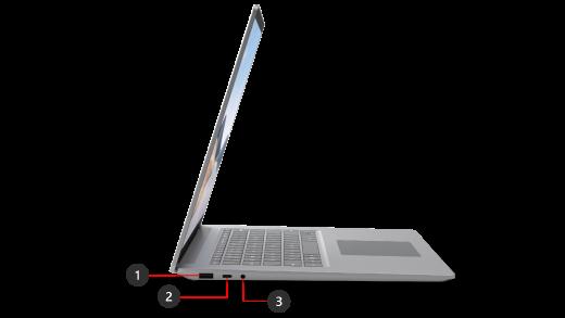 帶有所示連接埠的 Surface Laptop 4