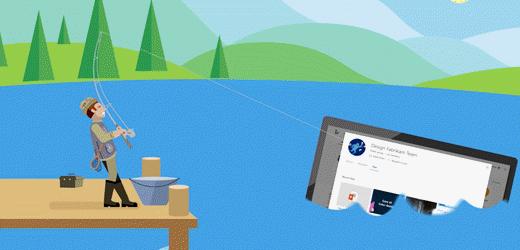 卡通 fisherman 將電腦螢幕從一個拉出。