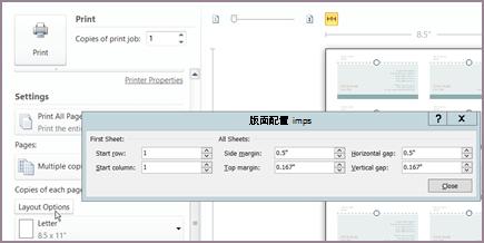 列印版面配置選項