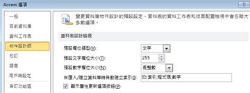 Access 選項資料表設計設定