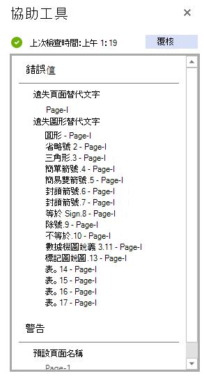 網頁Visio的協助工具窗格,顯示協助工具檢查的結果。