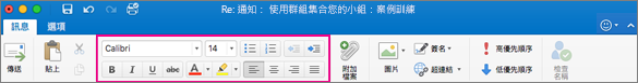 Mac 版 Outlook 功能區上的格式設定選項