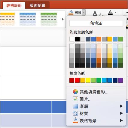 螢幕擷取畫面顯示 [資料表設計] 索引標籤,以顯示可用的選項包括 [無填滿、 佈景主題色彩、 標準色彩、 其他填滿色彩、 圖片、 漸層、 材質及表格背景中已到網底下拉式箭號。