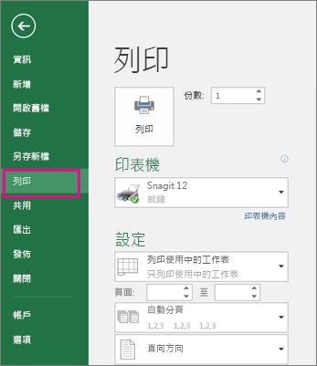 按一下 [檔案] > [列印] 以預覽您的工作表