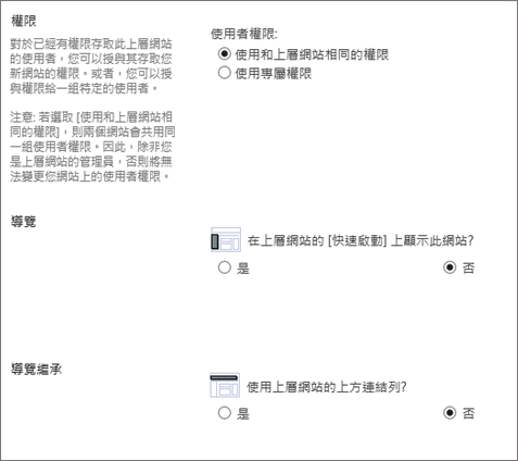 SharePoint 2016 子網站] 對話方塊 showning 導覽與權限] 區段