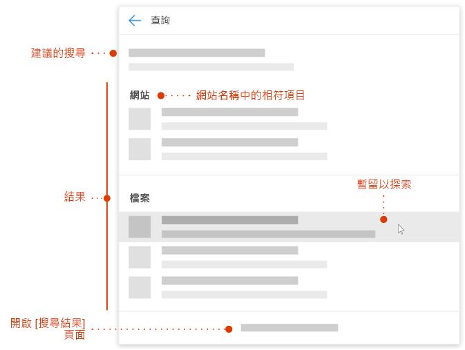 螢幕擷取畫面顯示新的搜尋方塊中的項目指標瀏覽