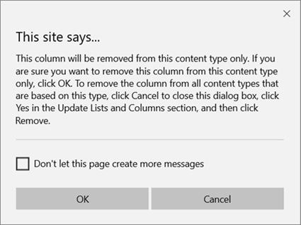 從單一內容類型的網站內容類型移除欄時,會出現 SharePoint 確認提示