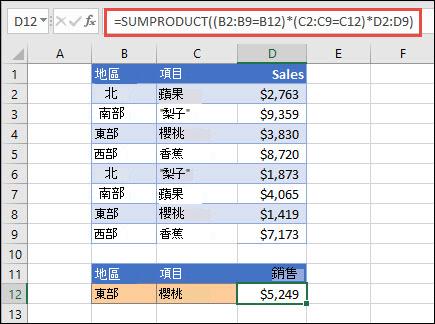 使用 SUMPRODUCT 以按地區退回專案總和的測驗。 在此案例中,在東部地區銷售的櫻桃數量。