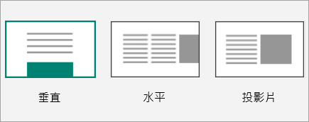 Sway 版面配置縮圖的螢幕擷取畫面。