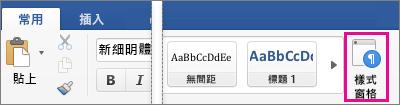 畫面上醒目提示 [常用] 索引標籤上的 [樣式窗格]