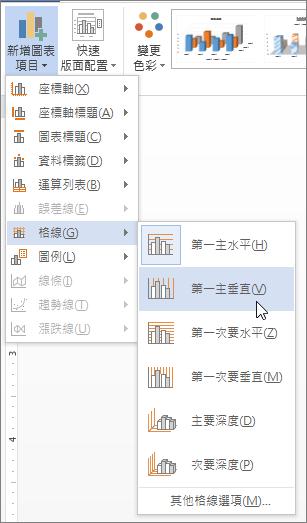 選取 [格線] 功能表上的格線選項