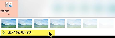 圖片透明選項可讓您為圖片選擇自訂的不透明度層級