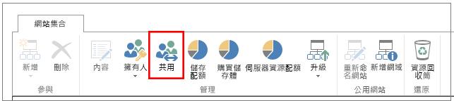 醒目提示 [共用] 按鈕的 SharePoint Online 系統管理中心功能區