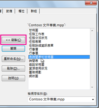 Project 組合管理,顯示目前開啟專案中的元素清單。