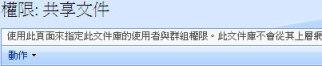 「共用文件」文件庫的 [權限] 頁面。