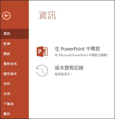 Office online 的版本歷程記錄項目顯示的 [資訊] 索引標籤。