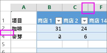 欄或列標題上出現兩條直線,表示這是隱藏的欄或列