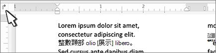 尺規上的 Mac [左] 索引標籤按鈕