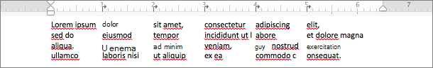 使用定位點來建立欄的範例