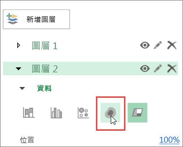 [圖層窗格] 中的熱力圖圖示