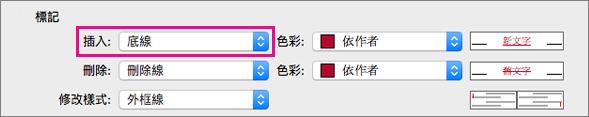 在 [追蹤修訂] 方塊中醒目提示 [插入] 標記類型。