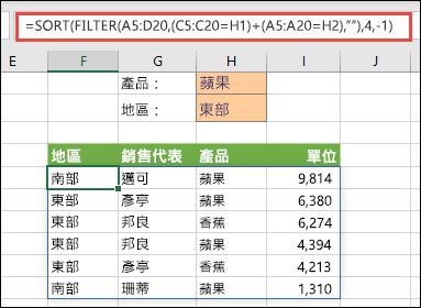 合併使用 FILTER 和 SORT – 按照 Product (Apple) OR 也按照 Region (East) 篩選