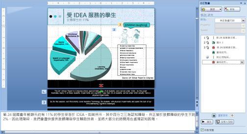 投影片內含加上動畫效果的圖說文字圖案 (表示孩童們的笑聲)
