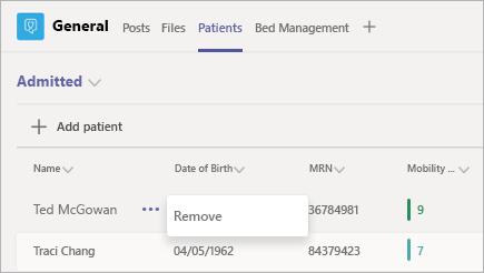 影像描述如何在 Microsoft 團隊患者應用程式中移除患者