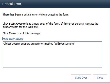 Critical error