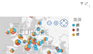 對 Power View 地圖視覺效果套用色彩