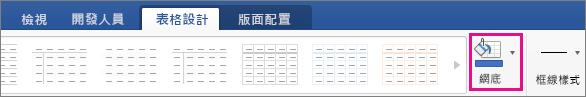 在 [資料表設計] 索引標籤上醒目提示 [網底]。