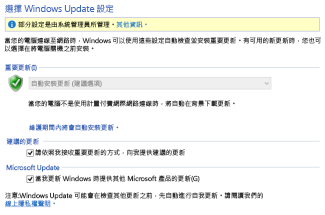 Windows 8 控制台中的 Windows Update 設定