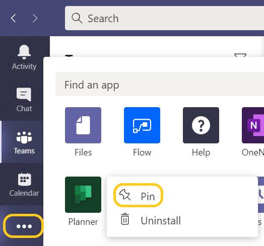 Microsoft Teams 的左側的 [其他新增的應用程式] 圖示上帶有強調顯示,以及一個功能表選項用來釘選應用程式。