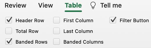 在 Mac 版 Excel 中選取的表格標題列。