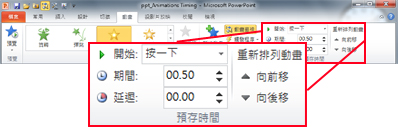 PowerPoint 2010 功能區中 [動畫] 索引標籤上的 [時間] 群組。