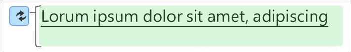 綠色醒目提示代表文字已變更。