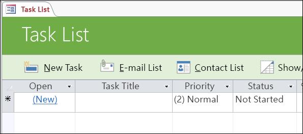 存取工作資料庫範本中的工作清單表單
