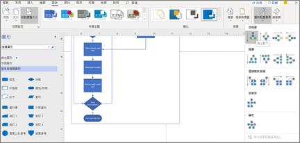 具有各種設計和版面配置選項的流程圖