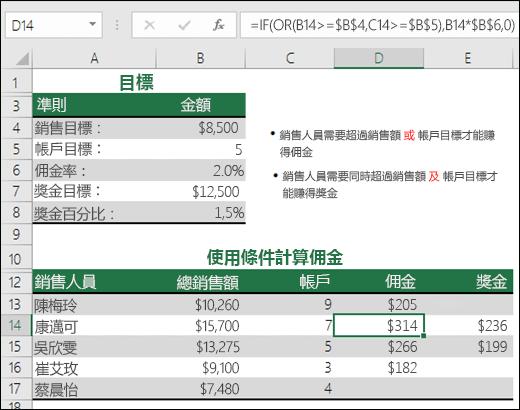 使用 IF 和 OR 函數計算銷售佣金的範例。