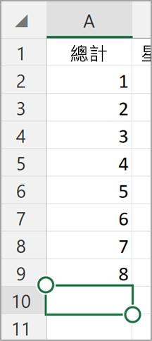 在 Windows 平板電腦 Excel 自動加總